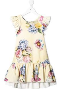 Monnalisa Vestido Com Estampa Floral - Amarelo