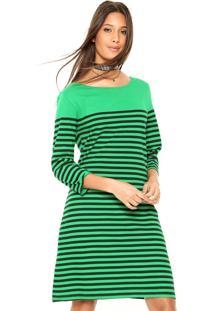 Vestido Cantão Curto Listra Localizada Verde/Preto