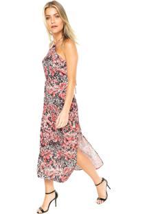 Vestido Ellus Midi Watercolor Floral Vermelho