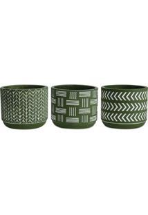 Jogo De Cachepots Geomã©Tricos- Verde Escuro & Brancomart