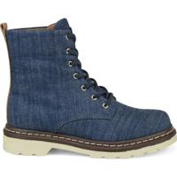 0db5f43bd Coturno Jeans- Azul & Marrom Escuro- Salto: 3Cm-Cravo & Canela