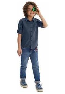 Camisa Com Bolso & Martingale Malwee Kids Malwee Kids Infantil Masculino - Masculino-Azul Escuro