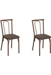 Conjunto Com 2 Cadeiras Albury Marrom E Cobre