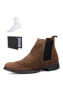 Bota Chelsea Boots Botina Confortável Escrete Couro 777 Marrom Com Brinde
