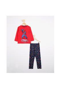 Pijama Infantil Homem Aranha Manga Longa Vermelho