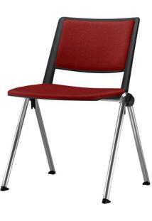 Cadeira Up Assento Estofado Vermelho Base Fixa Cromada - 54345 - Sun House