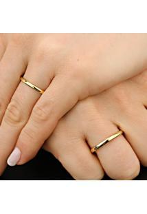 Aliança De Ouro Abaulada Com Diamantes - As0734 + As0715