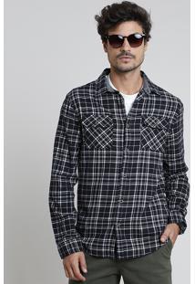Camisa Masculina Tradicional Em Flanela Estampada Xadrez Com Bolsos Manga Longa Preta
