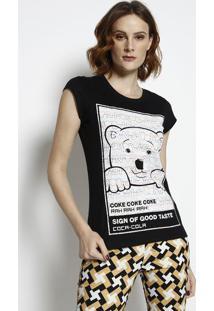 Camiseta Urso Com Aroma- Preta & Amarela- Coca-Colacoca-Cola