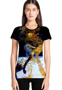 Camiseta Feminina Ramavi Cavalo Marinho Manga Curta - Kanui