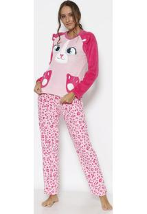 Pijama Soft Animal- Rosa Claro & Rosa- Puketpuket