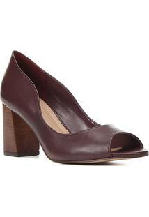 Peep Toe Couro Shoestock Salto Bloco Médio Fachete - Feminino-Vinho