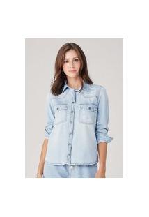Camisa Feminina Em Jeans - Azul