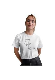 Camiseta Feminina Mirat Rosa De Linhas Branco