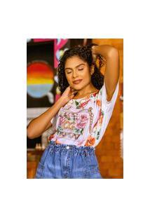 T-Shirt Estampada Floral Com Perfume Banila B