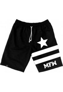 Bermuda Moletom Mfw Army Star Com Bolsos Masculina - Masculino-Preto