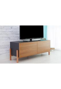 Rack Tv Preto Moderno Vintage Retrô Com 2 Portas Freijo Eric - 126X43,6X48,5 Cm