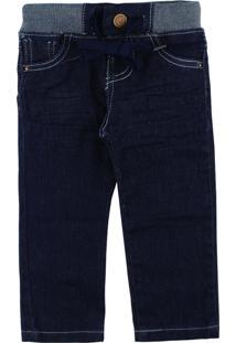 Calça Jeans Mox Jeans Para Bebê Com Elástico E Cordão