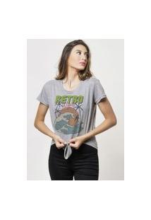 Camiseta Jay Jay Basica Retro Wave Cinza Mescla Dtg