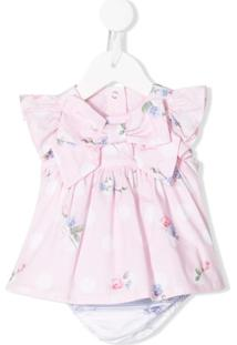 Lapin House Vestido Com Estampa Floral E Detalhe De Laço - Rosa