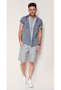 Bermuda Jeans Express Rocha Listras - Masculino-Azul