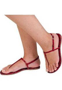 Rasteira Mercedita Shoes Animal Print Snake Vermelho - Vermelho - Feminino - Dafiti