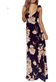 Vestido Longo Floral De Fenda