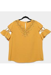 Blusa Lemise Plus Size Guipir Pérolas Feminina - Feminino-Mostarda