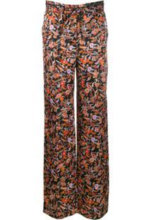 Derek Lam 10 Crosby Calça De Pijama Com Estampa Paisley Cós Com Cordão De Ajuste - Preto
