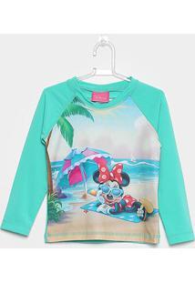 Camiseta Infantil Disney Tip Top Manga Longa Minnie Praia Menina - Feminino-Verde