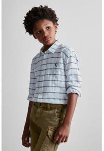Camisa Infantil Reserva Mini Textura Horizontal Masculina - Masculino-Branco