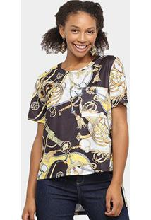 Camiseta Lança Perfume Estampada Bolso Feminina - Feminino-Preto+Amarelo