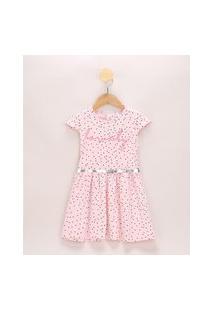 Vestido Infantil Estampado De Poá Com Cinto Manga Curta Rosa Claro