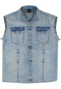 Camisa Look Jeans Colete Jeans - Azul - Menino - Dafiti