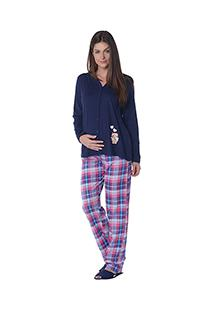Pijama Longo Aberto Happy Mother Xadrez - Luna Cuore 1737