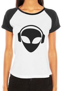 Camiseta Raglan Criativa Urbana Et Dj Alien Nerd Geek - Feminino-Branco