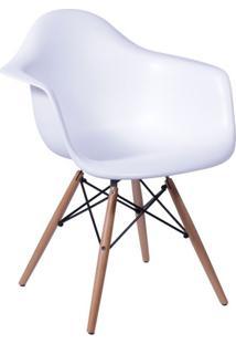 Cadeira Eames Eiffel Com Braço Branca Base Madeira