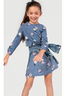 Vestido Infantil Com Faixa Estampado Hering Kids