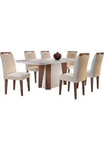 Conjunto De Mesa Para Sala De Jantar Retangular Com 6 Cadeiras Helena/Athenas-Rufato - Veludo Creme / Off White / Café