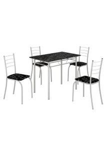 Mesa Com 4 Cadeiras Para Cozinha Rio Teixeira Branca