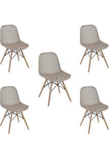 Kit 5 Cadeiras Decorativas Sala E Cozinha Haney (Pp) Nude Gran Belo