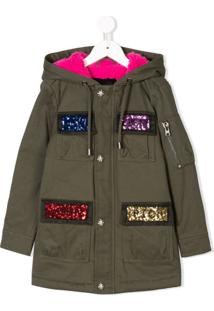 John Richmond Junior Sequin Embroidered Parka Coat - Green