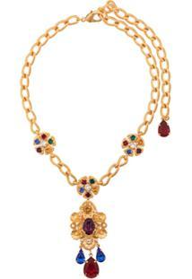 Dolce & Gabbana Colar Com Pingente Floral E Pedraria - Dourado