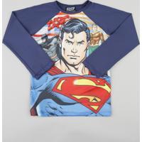 c5e35c9e3 Camiseta Infantil Super Homem Liga Da Justiça Manga Longa Com Proteção  Uv50+ Azul Marinho