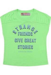 Camiseta Colcci Fun Menina Escrita Verde