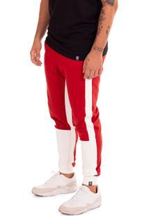 Calça Jogger Elastik Synthetic Inc. - Vermelha E Branco