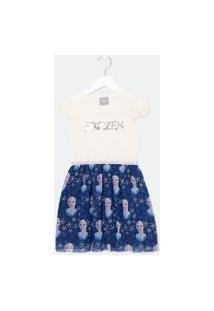 Vestido Infantil Estampa Frozen Em Paetê E Saia E Tule - Tam 1 A 14 Anos | Frozen | Off White | 02