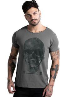 Camiseta Corte Á Fio Joss Caveira Premium Chumbo