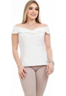 Colete Clara Arruda Elegance Feminino - Feminino-Off White