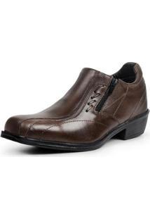 Sapato Social Masculino Liso Conforto Zíper Clássico - Masculino-Café